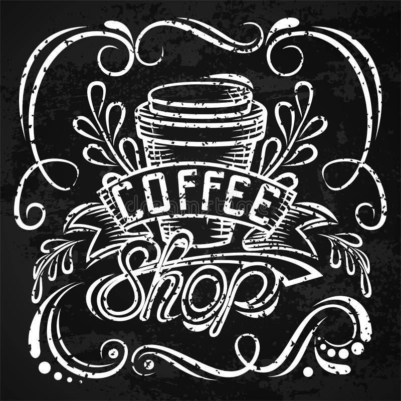 ? offee Verpackungsgestaltung Beschriftungshandzeichnung, Modeillustration des Themas des Kaffees Verschlossene Kaffeetasse, Spei stock abbildung