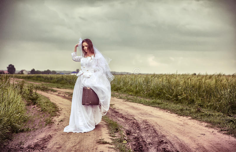 The Offended Bride Throwing Out A Wedding Veil Royalty Free Stock Photography