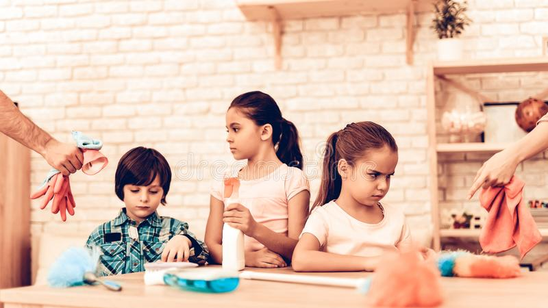 Offended Little Kids dont want Cleaning Room royalty free stock images