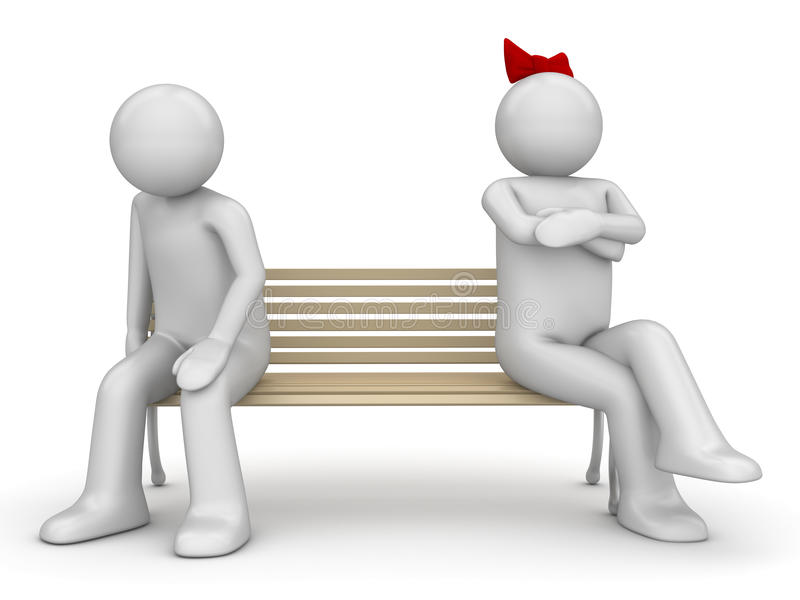 Offended man and woman on a bench stock photography