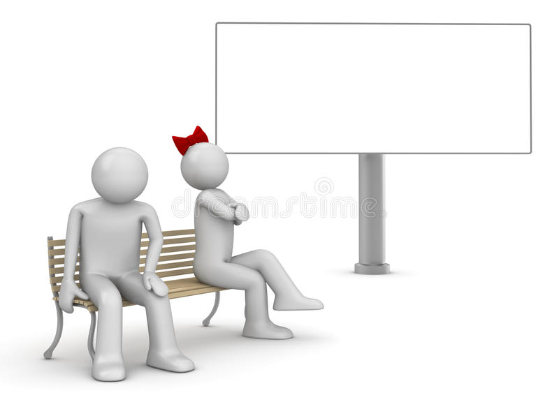 Offended man and woman on a bench with copyspace vector illustration