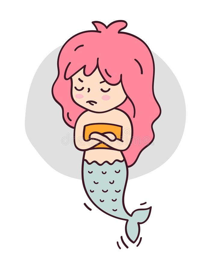 Offended mermaid, arms folded. royalty free illustration