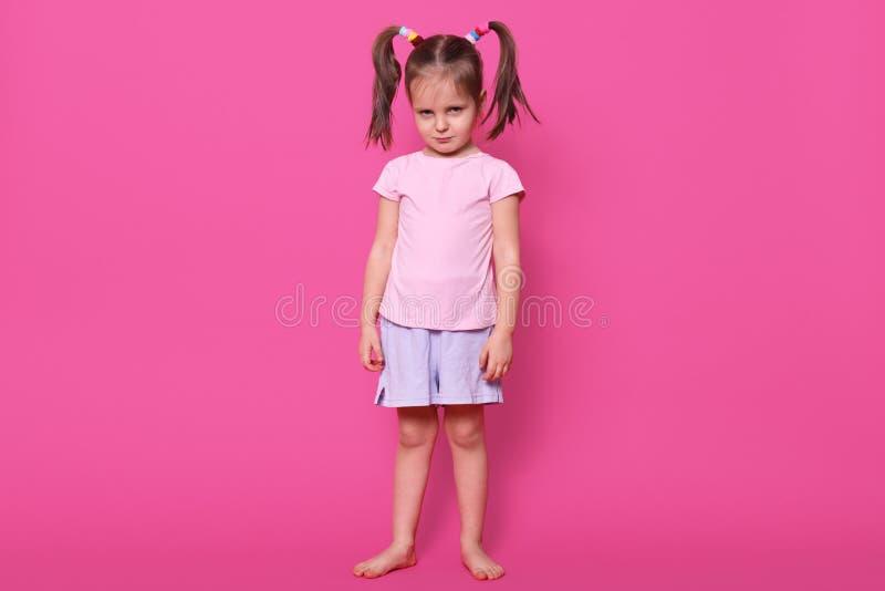 Offended rynkade pannan lilla flickan med roliga r?ttsvansar poserar isolerat ?ver ljus rosa bakgrund som st?r rak och lugna och  fotografering för bildbyråer