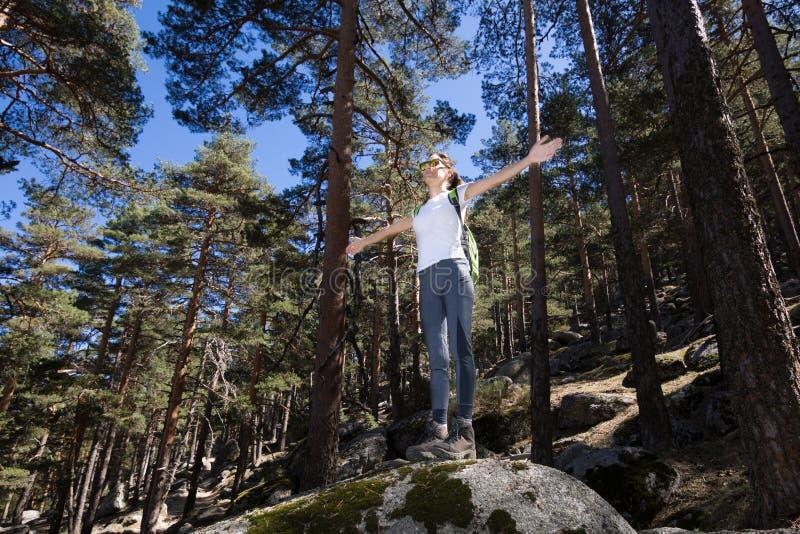 Offene Arme der Wandererfrau auf einem großen Felsen im Wald lizenzfreies stockfoto