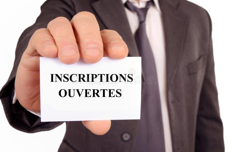 Offene Ausrichtungen geschrieben auf franz?sisch lizenzfreies stockbild