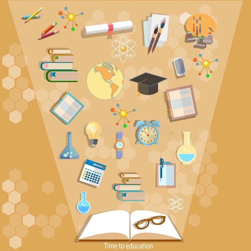 Offene Bücher und Ikonen der effektiven Bildung des Bildungskonzeptes lizenzfreie abbildung