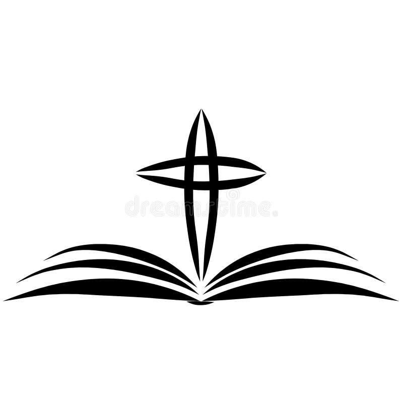 Offene Bibel und Kreuz über ihm, christlicher Symbolismus, schwarzer Entwurf stock abbildung