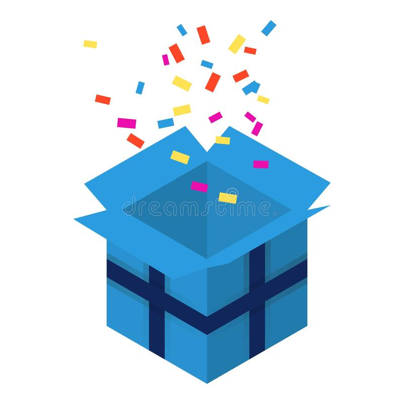 Offene blaue Geschenkboxikone, isometrische Art lizenzfreie abbildung