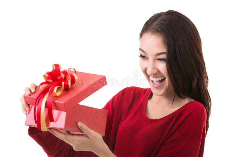 Offene Geschenkbox Asien-Dame stockfotos