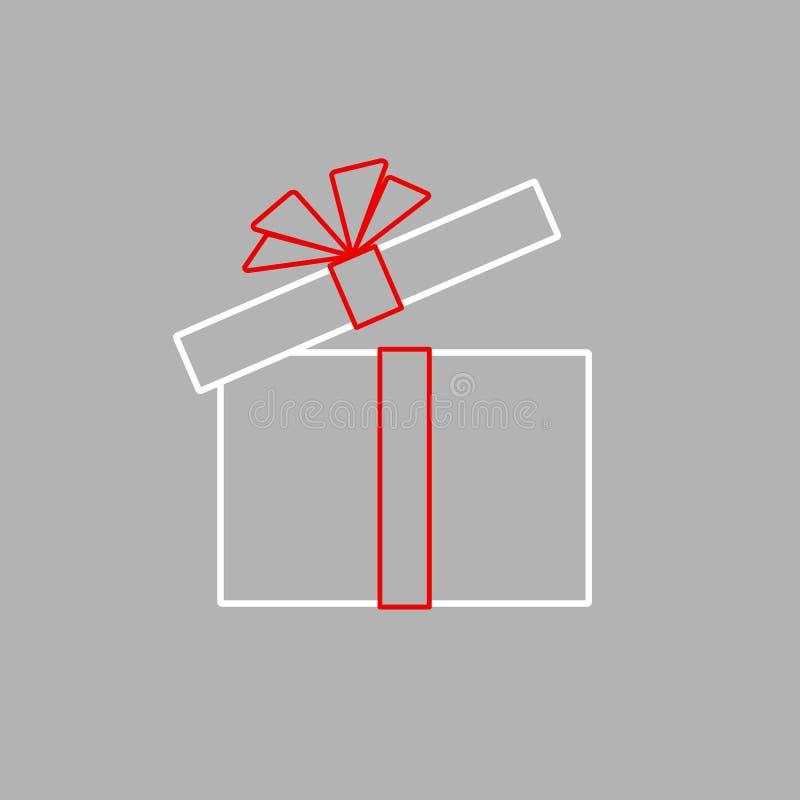 Offene Geschenkbox mit einfacher flacher Geschenkboxikone roten Bandbogen Isolats von der Linie von Streifen Gestaltungselement f lizenzfreie abbildung