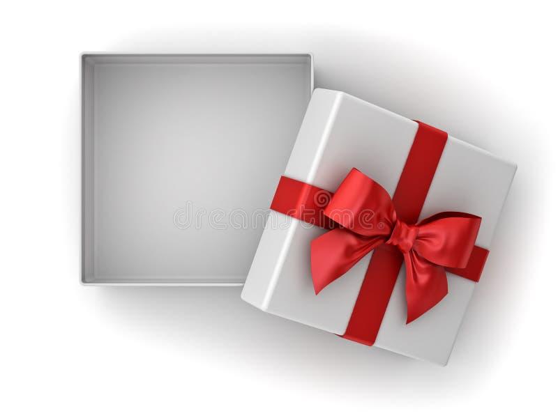 Offene Geschenkbox, Weihnachtspräsentkarton mit rotem Bandbogen und Leerstelle im Kasten lokalisiert auf weißem Hintergrund vektor abbildung