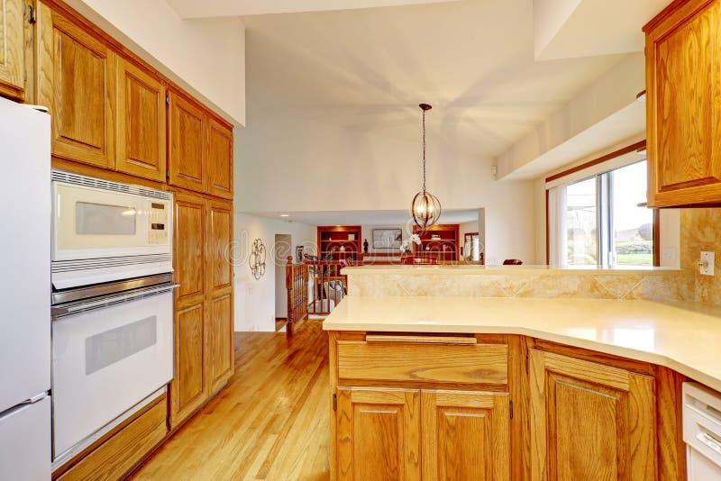 Offene große Küche Innen mit gewölbter Decke und weißen Geräten stockfotografie