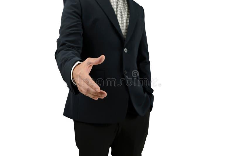Offene Hand des Geschäftsmannes, damit Händedruck ein Abkommen mit dem Partner macht, der auf weißem Hintergrund lokalisiert wird stockfotografie