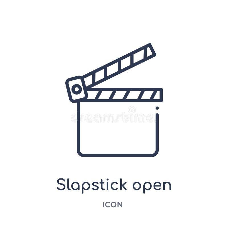 Offene Ikone des linearen Slapsticks von der Kinoentwurfssammlung Dünne Linie offene Ikone des Slapsticks lokalisiert auf weißem  stock abbildung