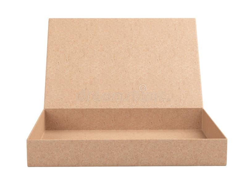 Offene leere Pappschachtel vom Recyclingpapier - Vorderansicht lizenzfreie abbildung
