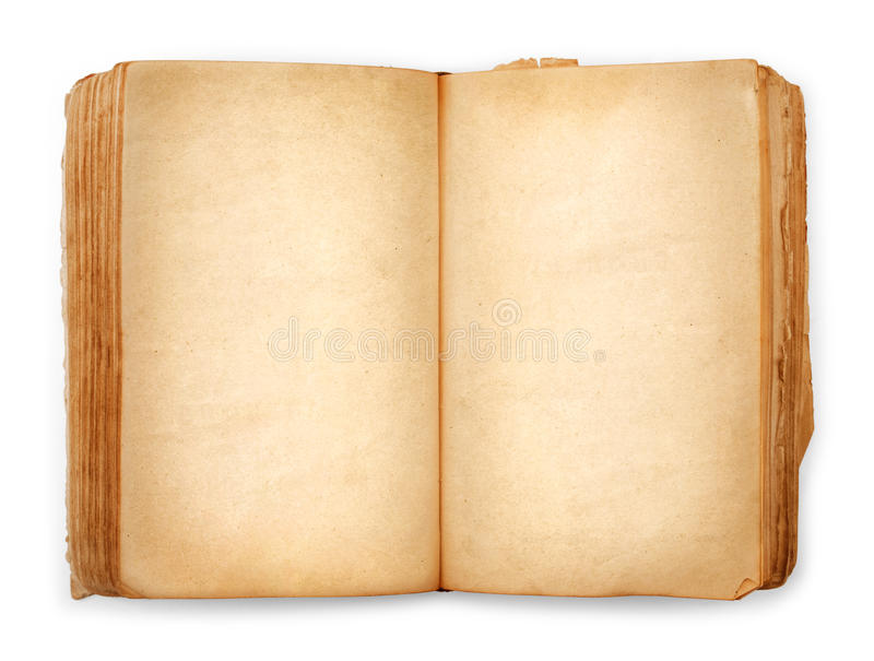 Offene Leerseiten des alten Buches, leeres gelbes Papier lizenzfreie stockfotos