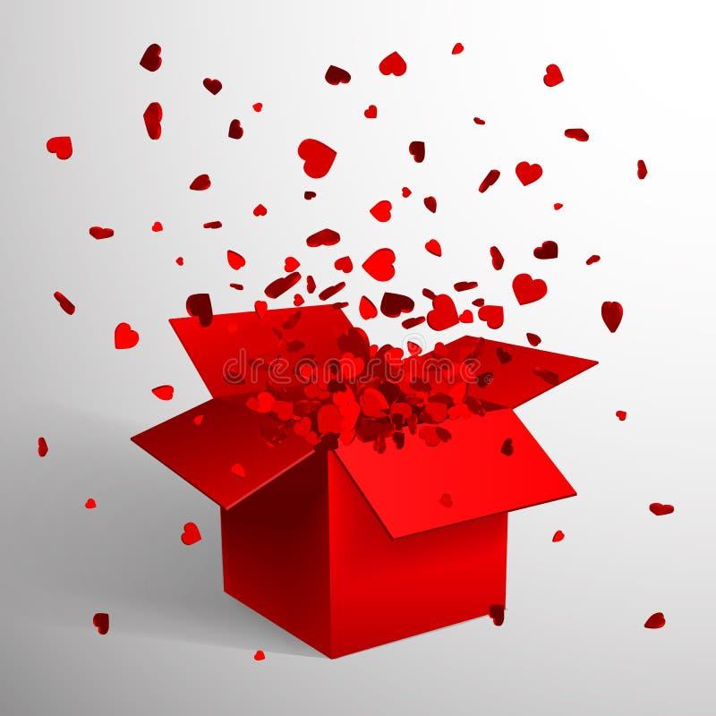 Offene rote Geschenkbox-und Herz-Konfettis Weihnachten und Valentine Background Auch im corel abgehobenen Betrag vektor abbildung