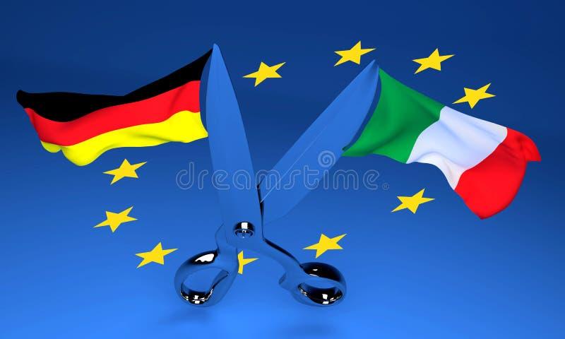 Offene Scheren mit Italien- und Deutschland-Flaggen, die in gegenüberliegende Di fliegen vektor abbildung