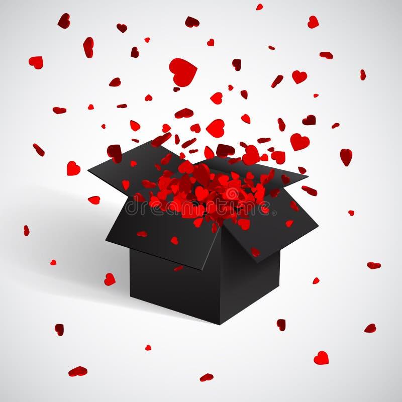 Offene schwarze Geschenkbox-und Herz-Konfettis Weihnachten und Valentine Background Auch im corel abgehobenen Betrag vektor abbildung