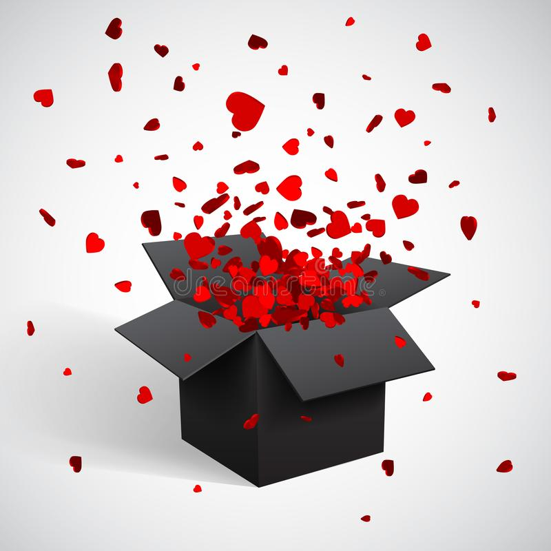 Offene schwarze Geschenkbox-und Herz-Konfettis Weihnachten und Valentine Background Auch im corel abgehobenen Betrag stock abbildung