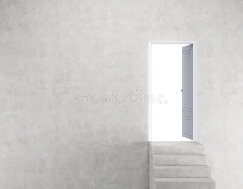Offene Tür in der Betonmauer mit Treppe vektor abbildung