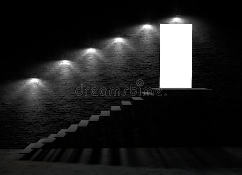 Offene Tür eines Kellers mit den Schritten, die zu den Boden führen lizenzfreie abbildung
