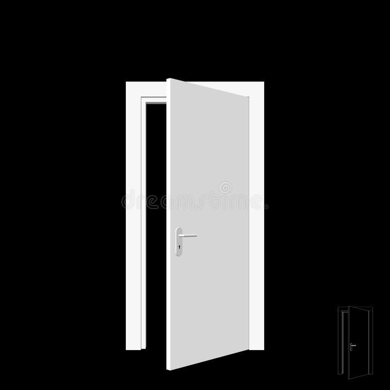 Offene Tür Getrennt auf schwarzem Hintergrund Abbildung des Vektor 3d lizenzfreie abbildung