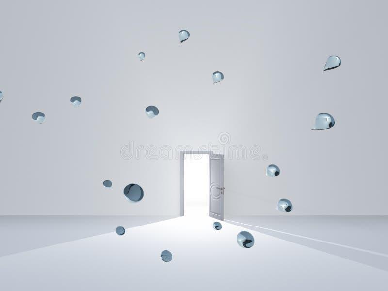 Offene Tür im Reinraum mit Wassertropfen lizenzfreie abbildung