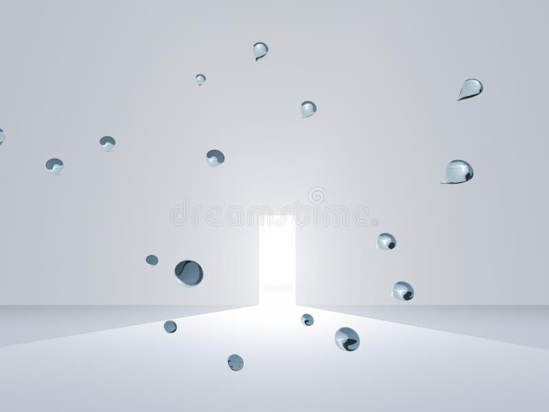 Offene Tür im weißen Raum mit Tropfen lizenzfreie abbildung