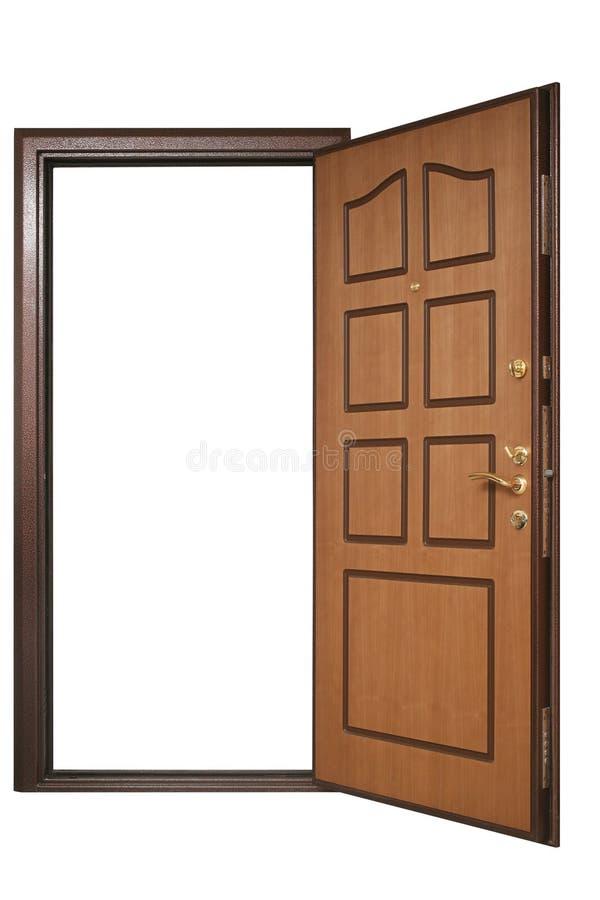 Offene Tür mit hölzerner Ordnung lizenzfreie stockfotografie