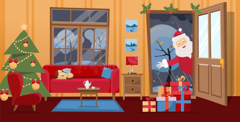 Offene Tür und Fenster, welche die schneebedeckten Bäume übersehen Weihnachtsbaum, Geschenke in den Kästen und rotes Möbelsofa na lizenzfreie abbildung
