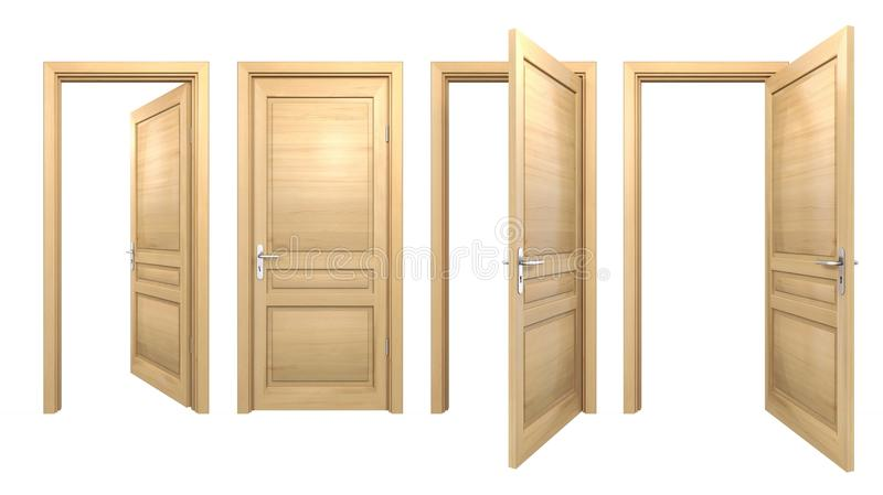 Offene und geschlossene Holztüren lokalisiert auf Weiß stock abbildung