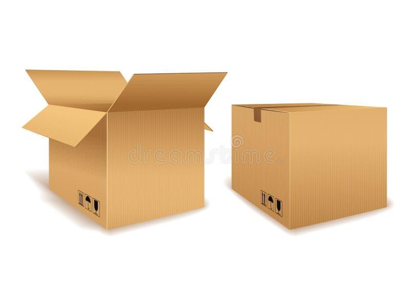 Offene und geschlossene Pappschachtel stock abbildung