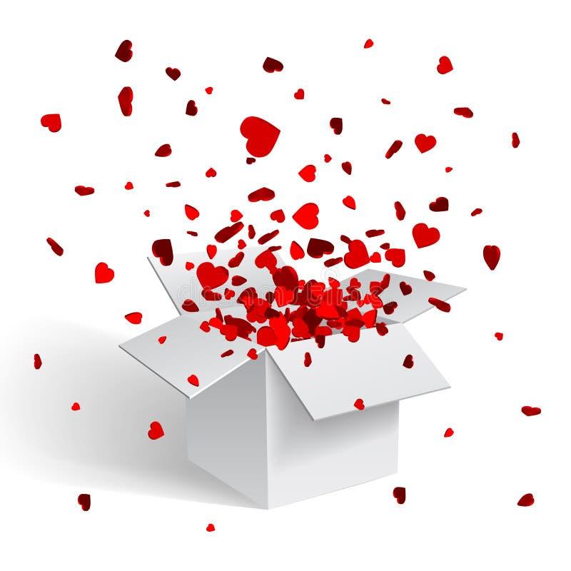 Offene weiße Geschenkbox-und Herz-Konfettis Weihnachten und Valentine Background Auch im corel abgehobenen Betrag stock abbildung