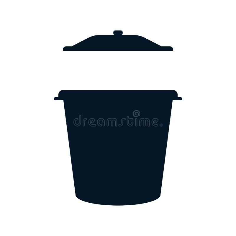 Offener Abfalleimer blaue Farbe in Form einer F?lle auf einem wei?en lokalisierten Hintergrund vektor abbildung