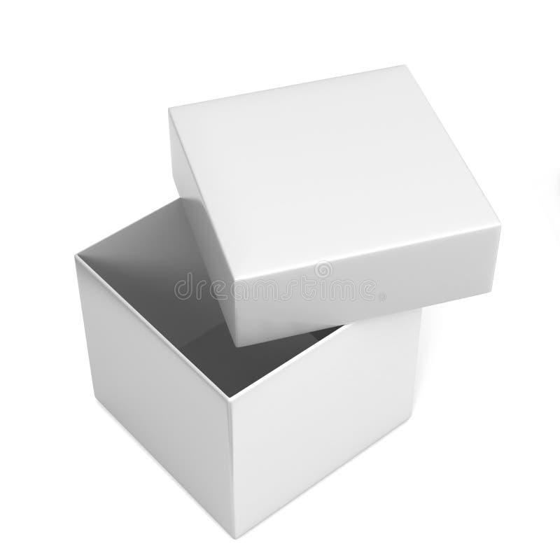 Offener Behälter Kasten des leeren weißen Produkt-Paketquadrats Abbildung 3D vektor abbildung