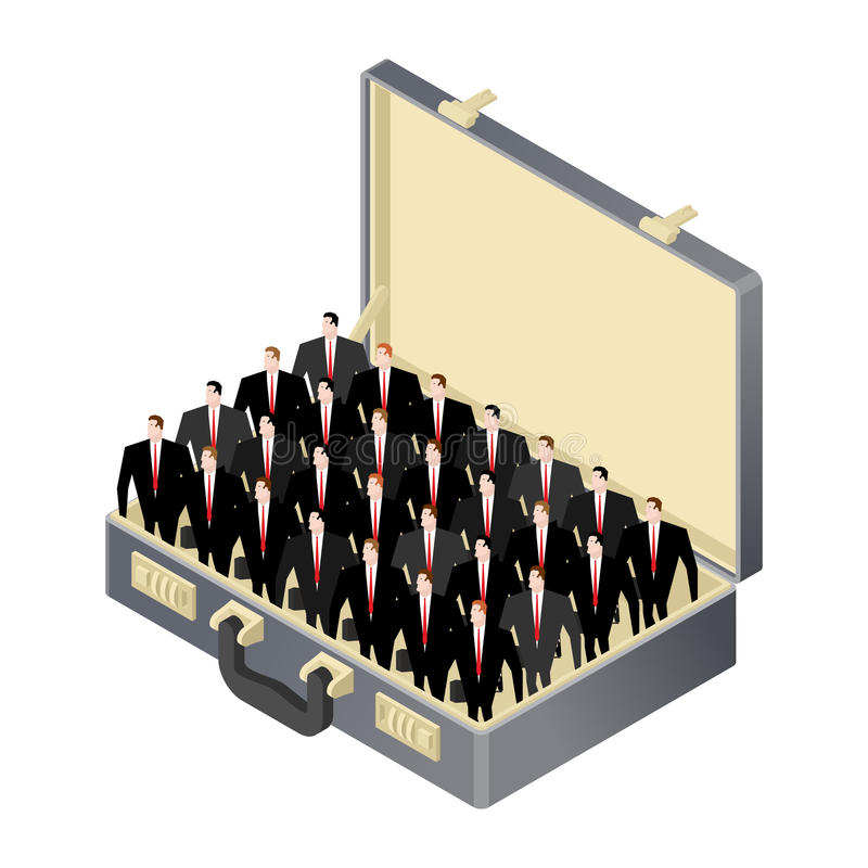 Offener Fall des Geschäftsteam-Inneres Koffer und Führungsteam C lizenzfreie abbildung