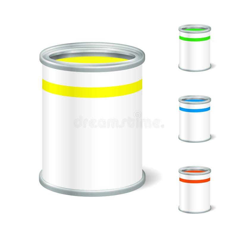 Offener Farbeimer des realistischen freien Raumes Tin For Liquid Spott bis zur Anzeige lizenzfreie abbildung