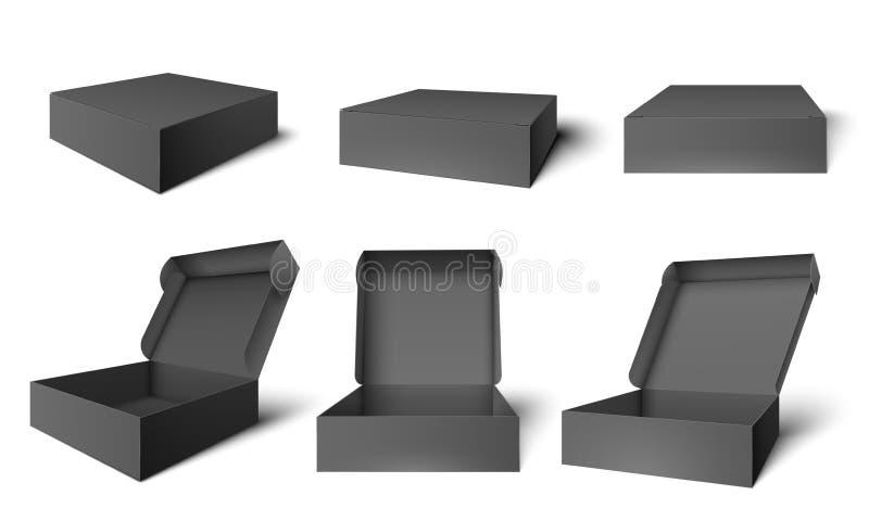 Offener schwarzer Verpackenkasten Dunkle Pappe öffnete und schloss Kästen, Paketmodellschablonenvektor-Illustrationssatz lizenzfreie abbildung