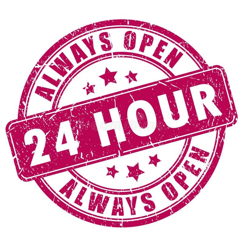 24 offener Stempel der Stunde lizenzfreie abbildung