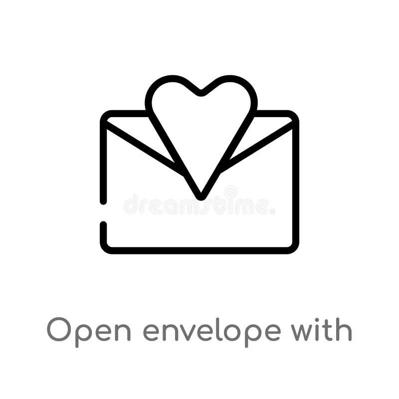 offener Umschlag des Entwurfs mit Herzbuchstabe-Vektorikone lokalisiertes schwarzes einfaches Linienelementillustration vom Parte stock abbildung