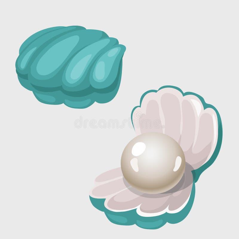 Offener und geschlossener Oberteilkasten mit weißer Perle lizenzfreie abbildung
