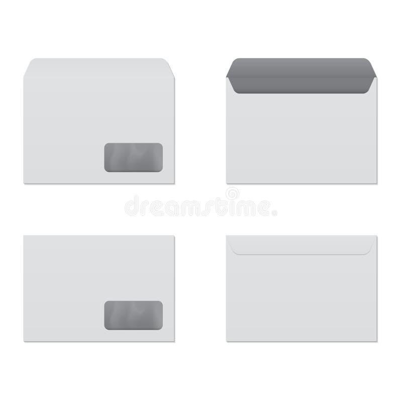 Offener und geschlossener Umschlag mit Ansicht der Fenster-, vorderer und Rückseite lizenzfreie abbildung