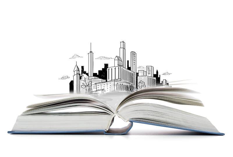Offenes Buch auf dem Tisch mit Stadtskizze stockbild