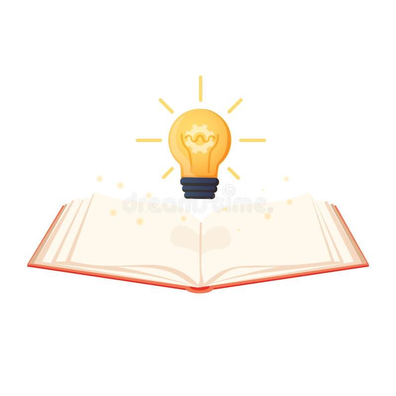 Offenes Buch mit der glänzenden Birne, die heraus fliegt Flache Ikone lokalisiert auf Pulverweißhintergrund Flache Ikone stock abbildung
