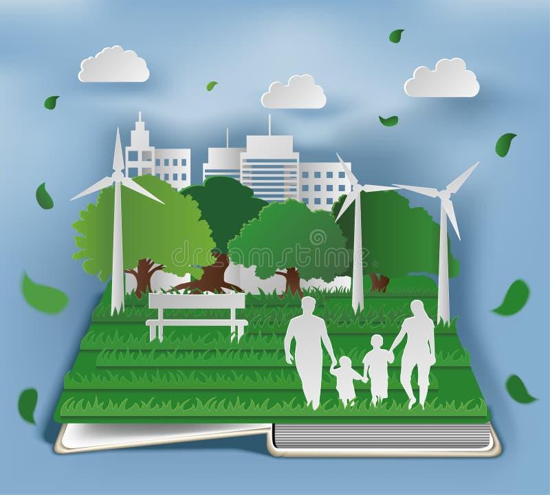 Offenes Buch mit eco Zusammensetzung in der Papierkunstart der Familie im Park auf grüner Stadtform lizenzfreie abbildung