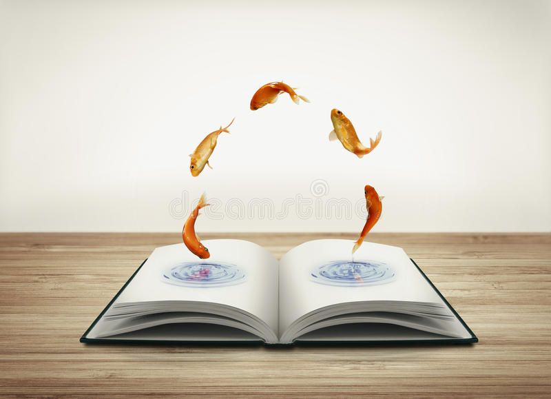 Offenes Buch mit Goldfisch vektor abbildung