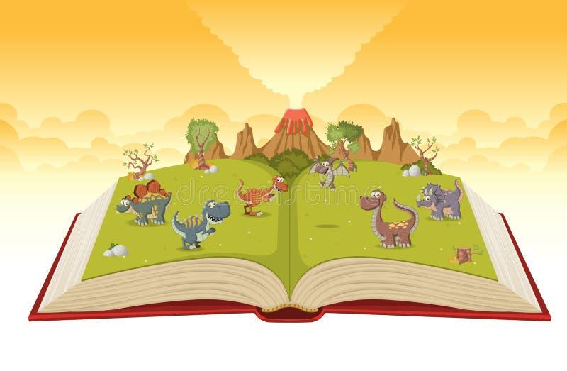 Offenes Buch mit Vulkan und lustigen Karikaturdinosauriern lizenzfreie abbildung