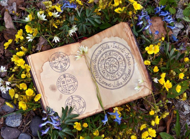 Offenes Buch mit wiccan Festivaldiagramm unter Frühlingsblumen lizenzfreie stockbilder