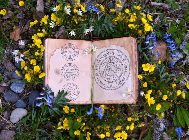 Offenes Buch mit wiccan Festivals und magischen Diagrammen im Gras und in den Blumen stockfotos
